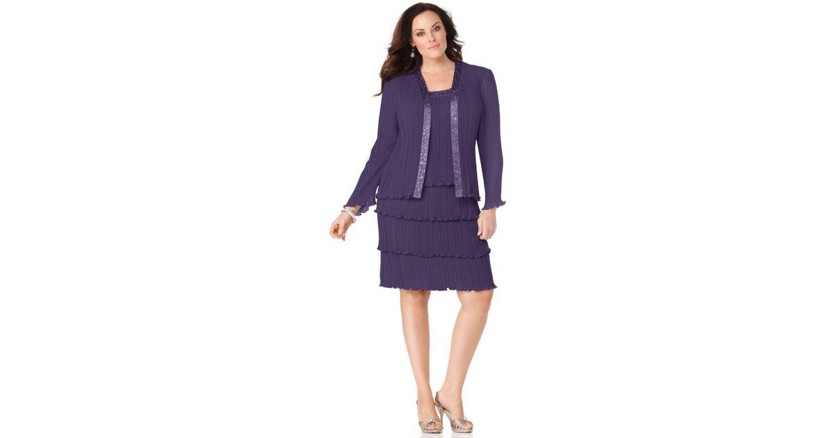 Lyst Patra Long Sleeve Tiered Skirt Evening Dress In Purple