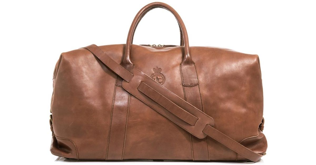 8fab75f6633c Lyst - Polo Ralph Lauren Leather Weekender Bag in Brown for Men
