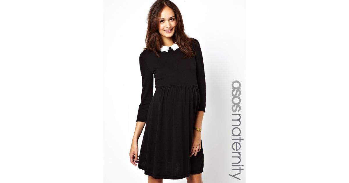 Lyst Asos Asos Maternity Knitted Skater Dress With Peter Pan