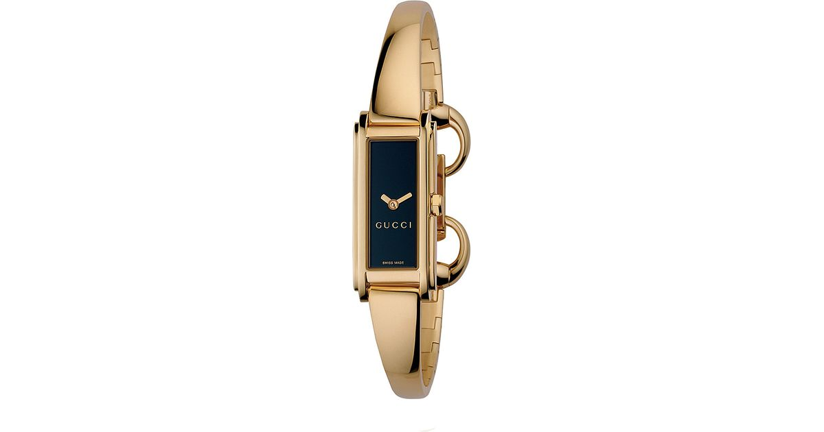 Lyst Gucci Ya109524 G Line Collection Gold Pvd Bangle Watch In Metallic