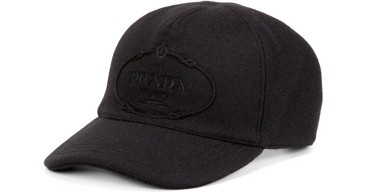 f47fed13d3b Lyst - Prada Wool Logo Baseball Cap in Black for Men