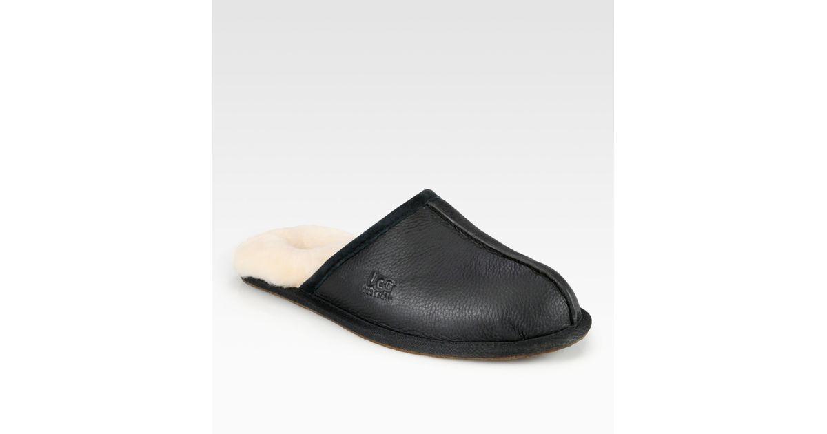 black leather mens ugg slippers