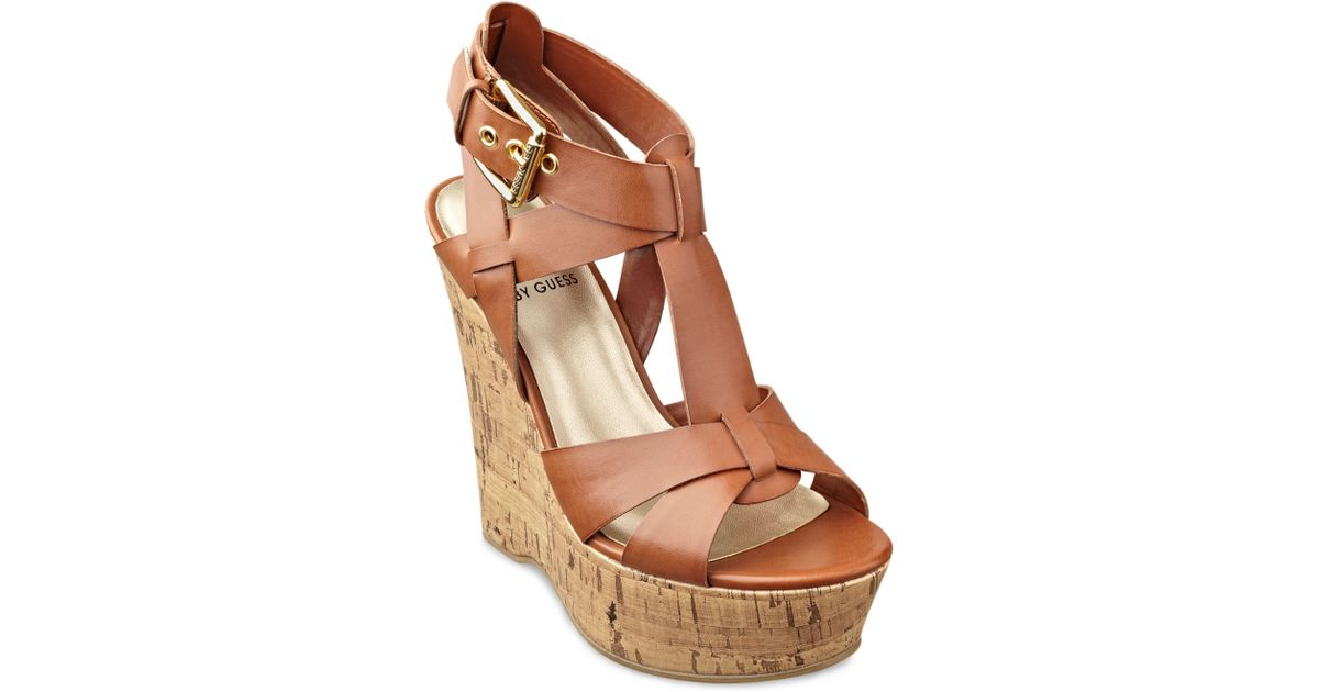 9093ef3e9 Lyst - G by Guess Entry Platform Wedge Sandals in Brown