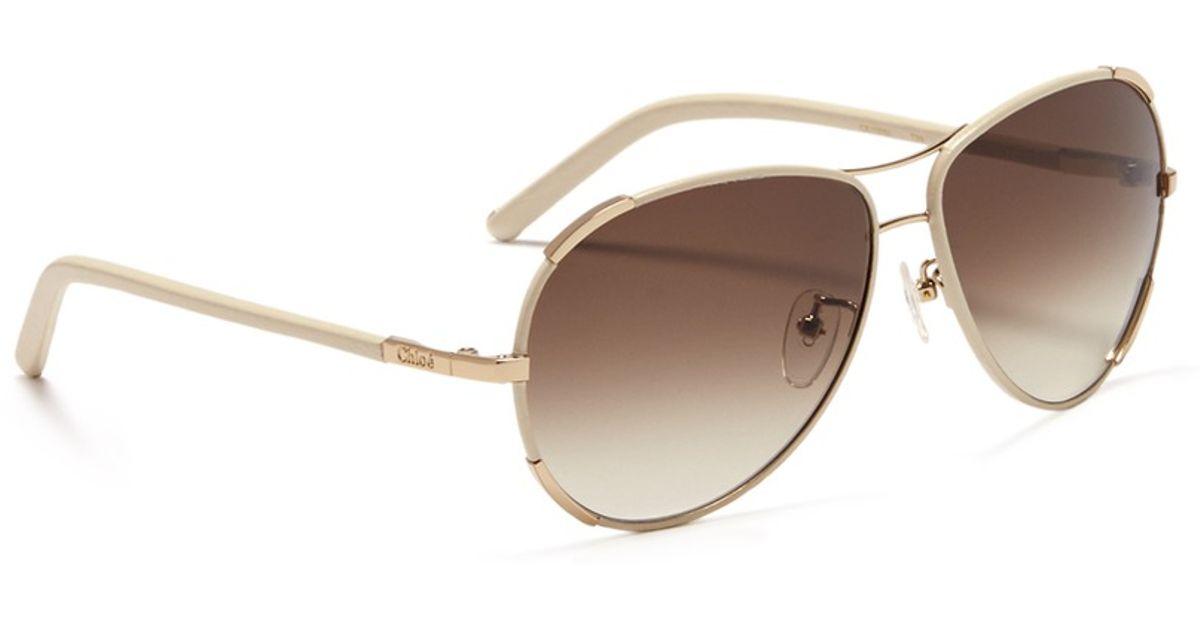 69d455c11f7 Chloé Leather Trim Aviator Sunglasses in White - Lyst