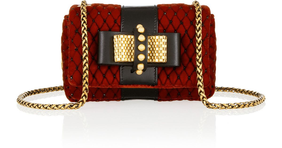 f8c9feb0a4e Christian Louboutin Red Sweet Charity Mini Embellished Velvet Shoulder Bag