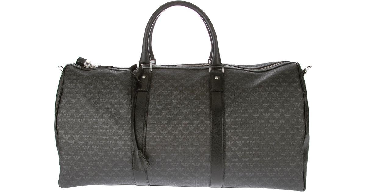 340f51b05c Emporio Armani Black Monogrammed Duffle Bag for men