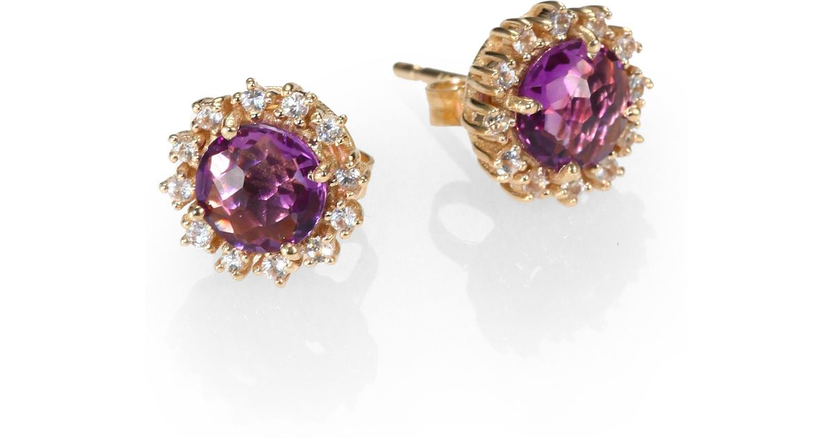 Lyst Kalan By Suzanne Amethyst White Shire 14k Yellow Gold Starburst Stud Earrings In Purple
