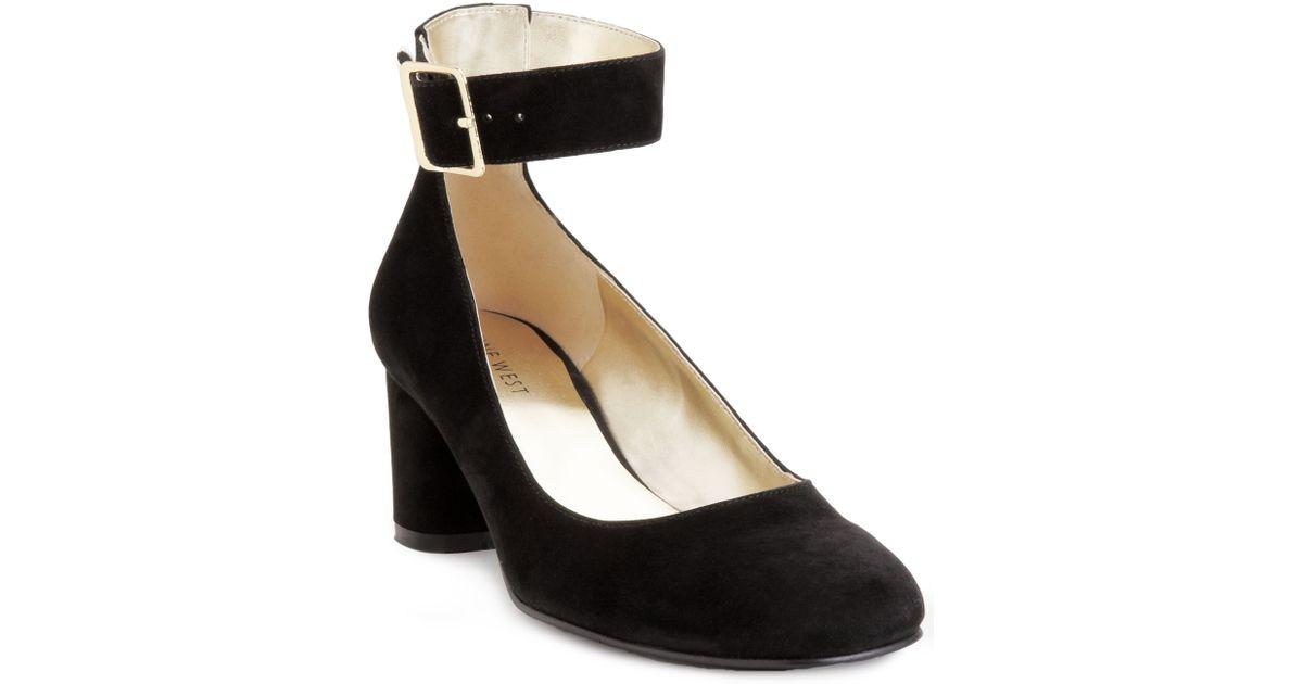 nine west servina ankle mid heel pumps in black lyst