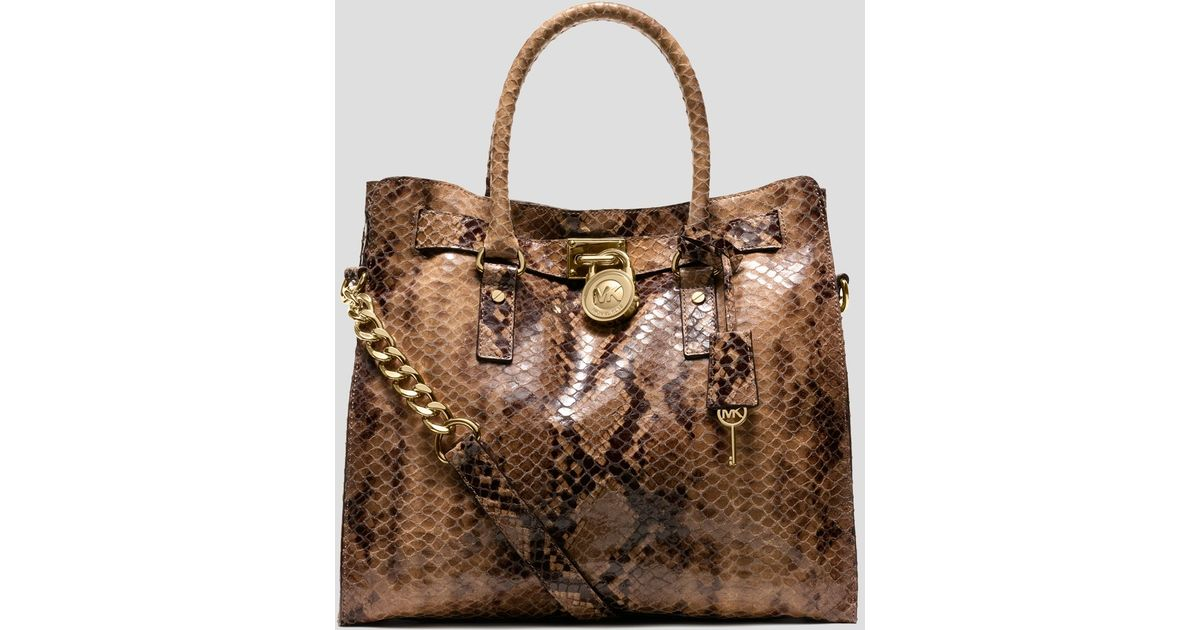 6e601f25af578 Lyst - MICHAEL Michael Kors Tote Hamilton Large North South Python Embossed  in Brown