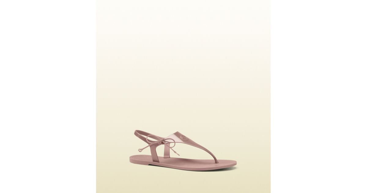 d6f0635b5bcb Lyst - Gucci Katina Light Pink Rubber Thong Sandal in Gray