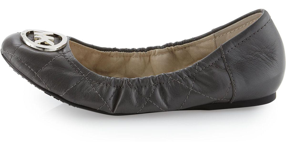 23746b808d58 Lyst - MICHAEL Michael Kors Fulton Quilted Ballerina Flat in Gray