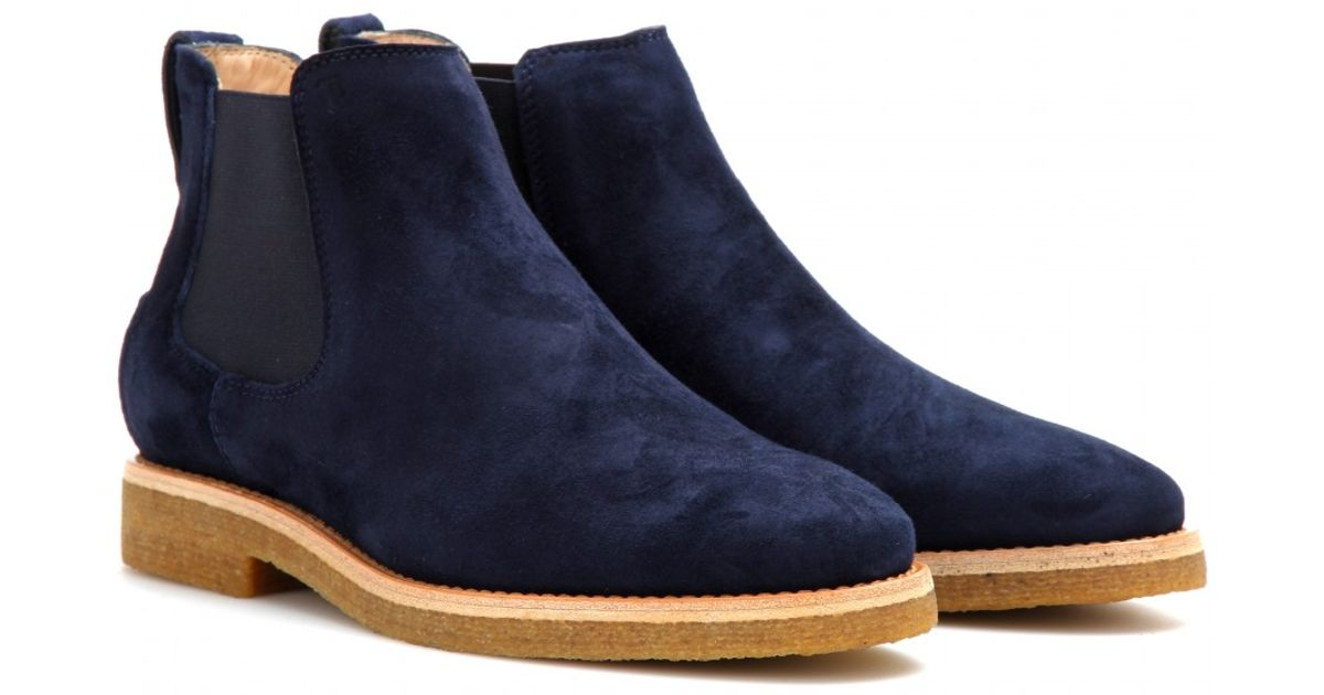 Tod's Suede Chelsea Boots in Midnight