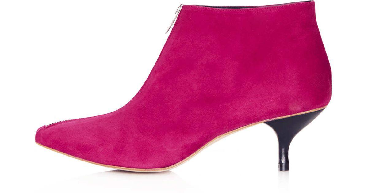 Lyst - Topshop Applebee Kitten Heel Boots in Pink