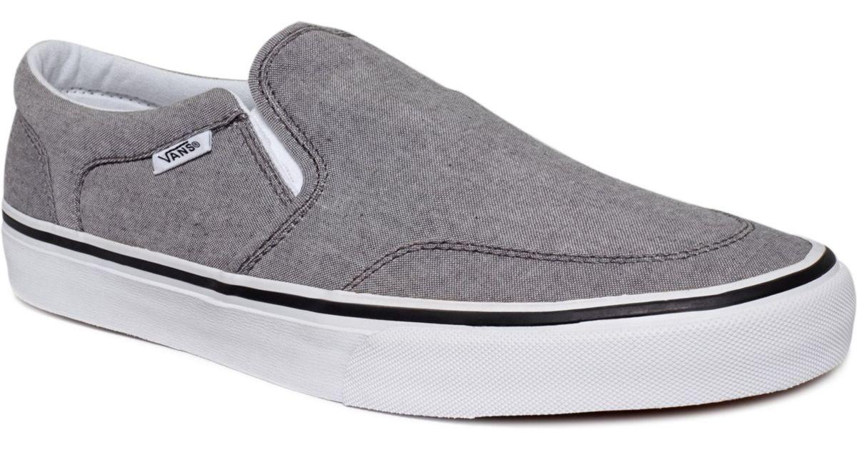 Vans Asher Slip Ons in Grey/White (Gray