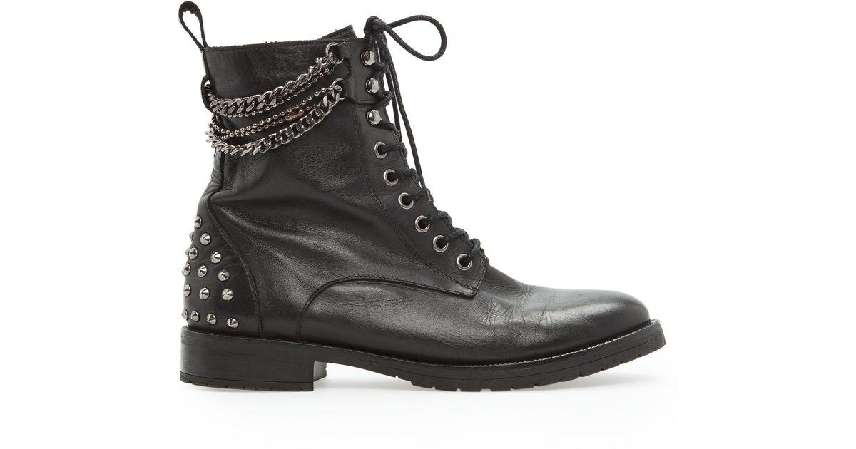 Mango Rocker Leather Ankle Boots in