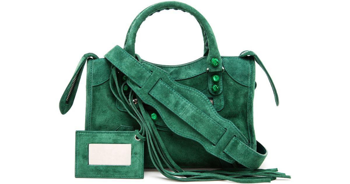 Ejecución Anillo duro evolución  Balenciaga Mini City Suede Handbag in Green - Lyst