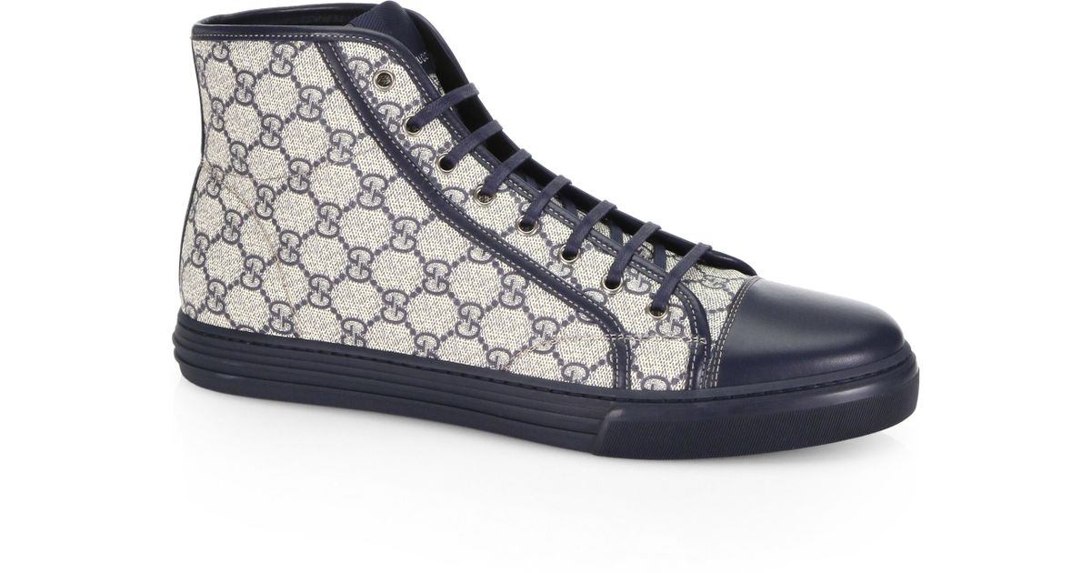 gucci california gg plus high top sneakers in gray for men lyst. Black Bedroom Furniture Sets. Home Design Ideas
