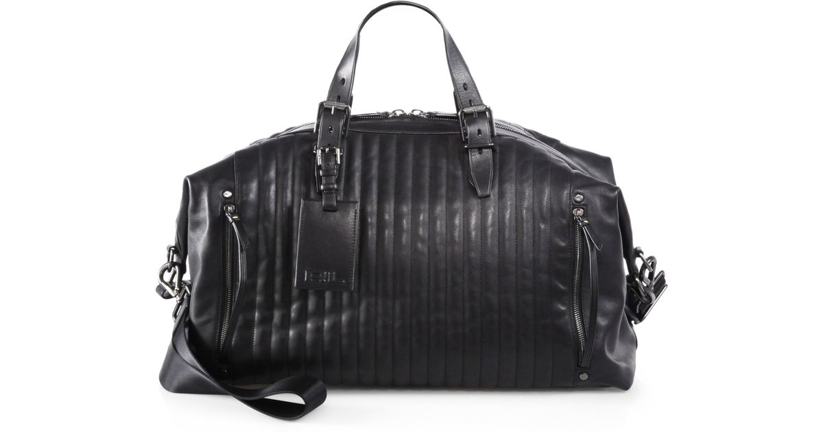 b41373403f Lyst - Ralph Lauren Quilted Leather Duffle Bag in Black for Men