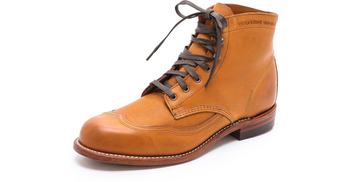 d8fefa00edb Wolverine Brown Addison Mile Wingtip Boots for men