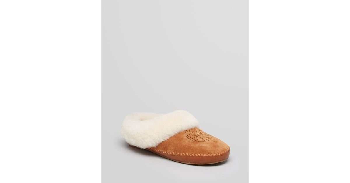 sale pay with visa wide range of Tory Burch Shearling Suede Slippers sale sale online RDp1sht