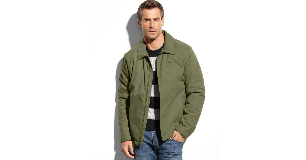 lyst tommy hilfiger zipfront microtwill jacket in green. Black Bedroom Furniture Sets. Home Design Ideas