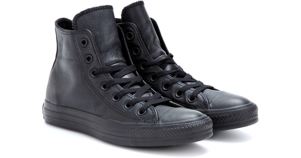 fcc7cacb8e72 Lyst - Converse Chuck Taylor All Star Leather Hightop Punk Sneakers in Black