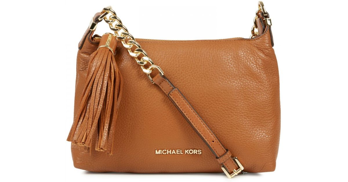 275597e3a4a3 Michael Kors Weston Grained Leather Crossbody Bag in Brown - Lyst