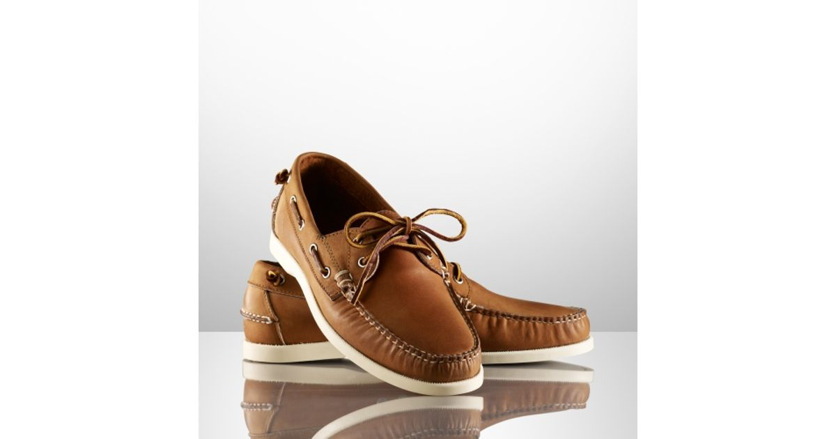 93a81dd8f2 Ralph Lauren Brown Telford Tumbled Calf Boat Shoe for men