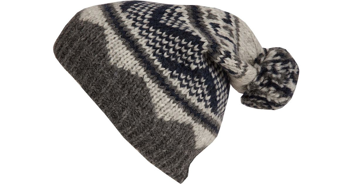 Inverni Grey Fair Isle Pom Pom Beanie Hat in Gray for Men   Lyst