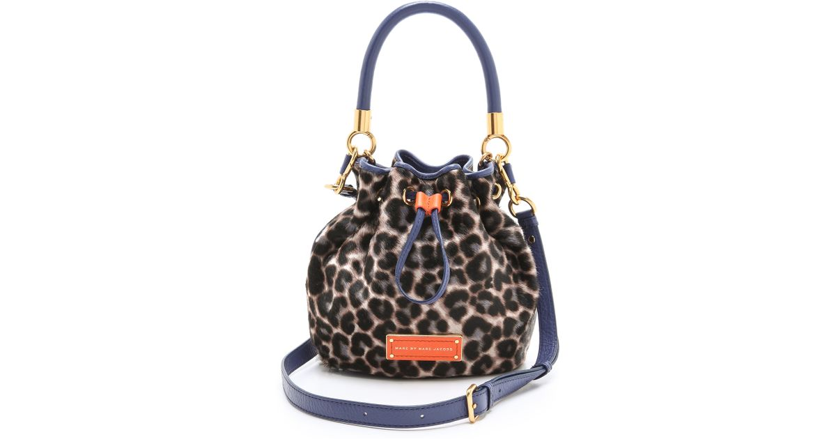 d17f921c42de Lyst - Marc By Marc Jacobs Too Hot To Handle Leopard Haircalf Drawstring Bag  in Purple