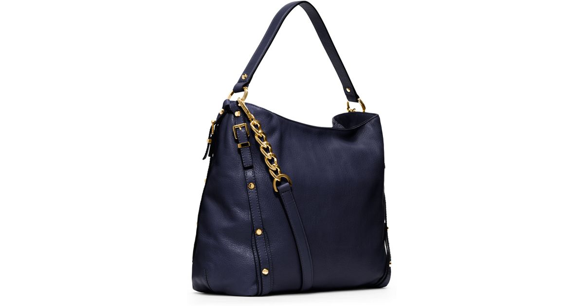 lyst michael michael kors large leigh shoulder bag in blue rh lyst com