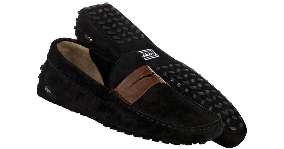 480bf2db4 Lyst - Lacoste Concours Suede Loafers in Black for Men