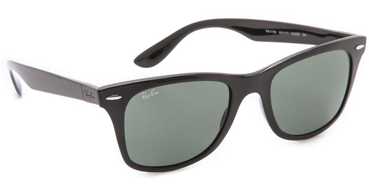 13885918e3e70 Lyst - Ray-Ban Light Force Wayfarer Sunglasses in Black