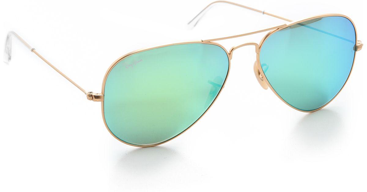 455f4e6c4d75 Ray Ban Classic Aviator Sunglasses In Matte Gold Green Polarized Mirror