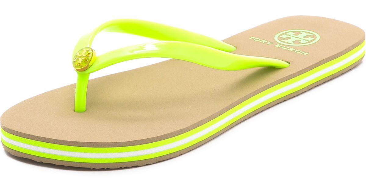 822fa5f5cbfc Lyst - Tory Burch Neon Striped Flip Flops in Yellow