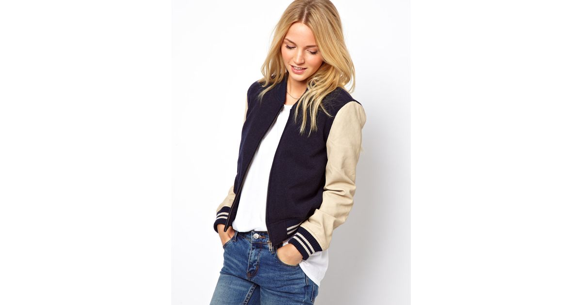 27133e87a French Connection Blue Bomber Jacket with Faux Leather Sleeves
