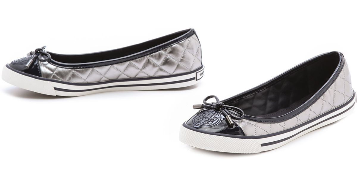 364d737f72f894 Lyst - Tory Burch Skyler Quilted Sneaker Flats in Metallic