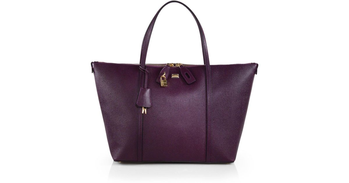 6bd4d36f30f Lyst - Dolce & Gabbana Miss Escape Large Leather Toteblack in Purple