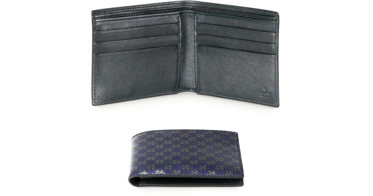 22770eabf832 Gucci Microssima Patent Leather Bifold Wallet in Blue for Men - Lyst