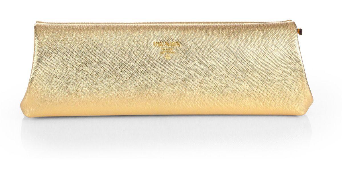 gold prada clutch