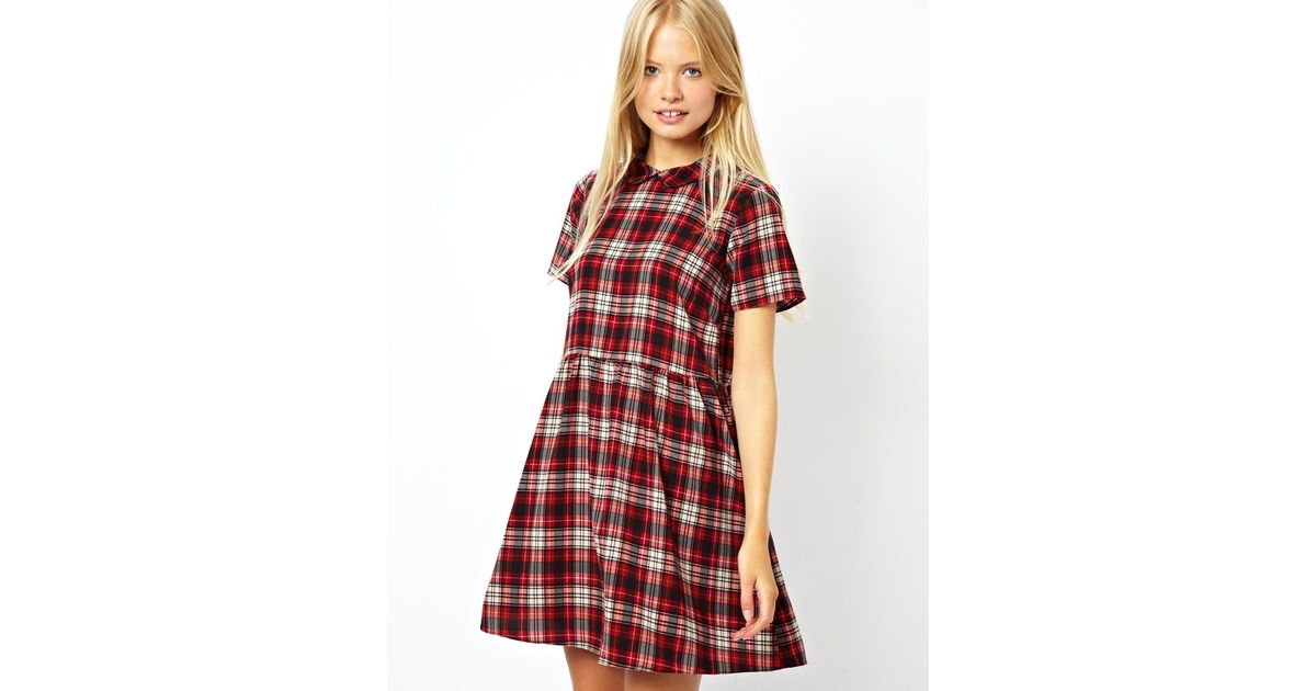 772df6a0a60 Lyst - ASOS Smock Dress in Check with Collar in Red