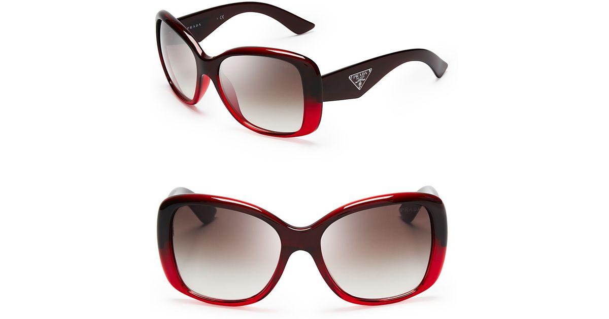 702a4c245a Lyst - Prada Galleria Triangle Logo Sunglasses in Red