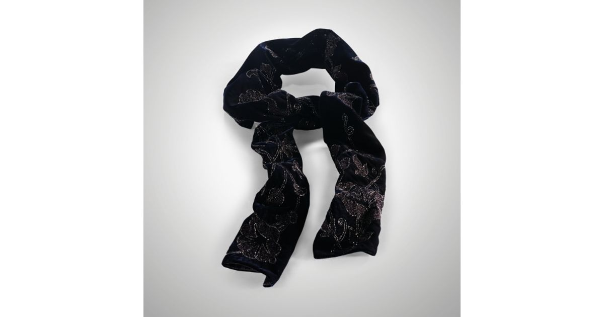 Ralph Lauren Purple Label Black Velvet Embroidered Floral Scarf New $1250