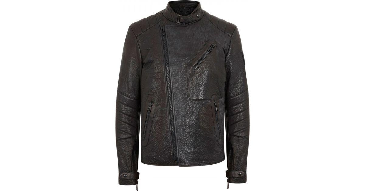 6189dd216 Belstaff Black Kendal Leather Biker Jacket for men