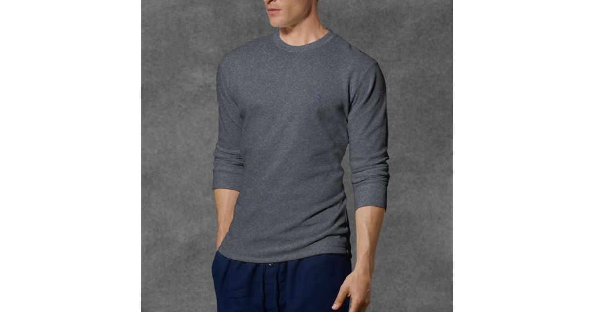 a0ff1544 Polo Ralph Lauren Waffle Knit Crewneck Thermal in Gray for Men - Lyst