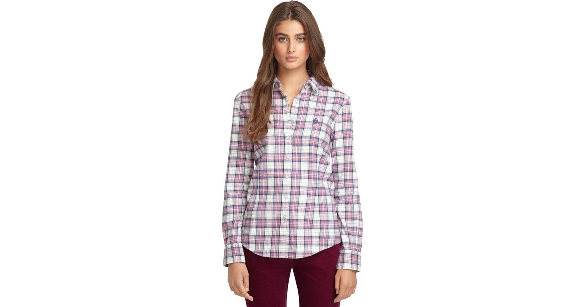 Brooks Brothers Plaid Flannel Shirt In Gray Lyst