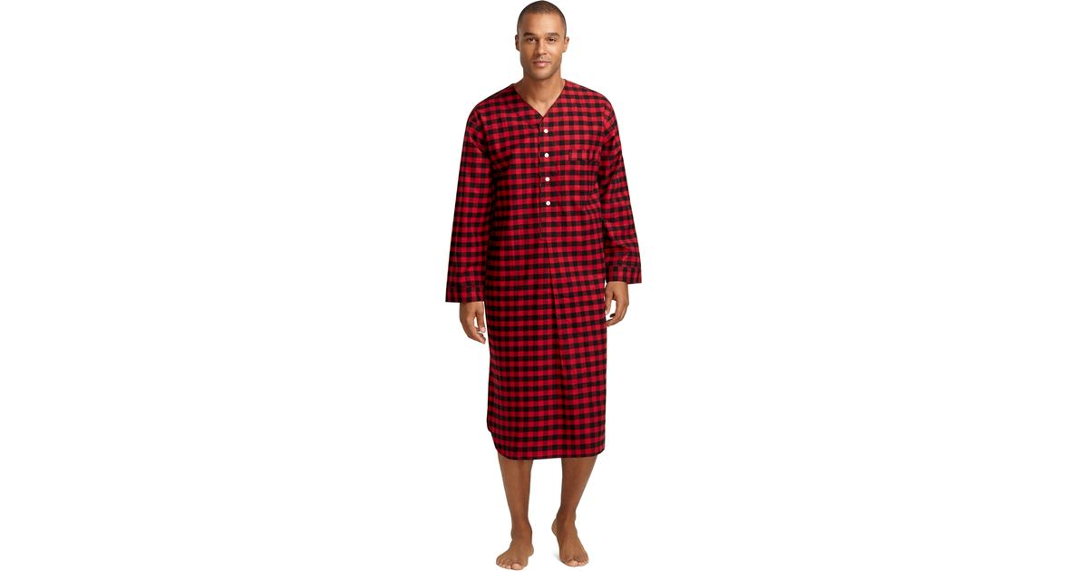 Lyst - Brooks Brothers Buffalo Check Flannel Nightshirt in Red for Men 595478c48