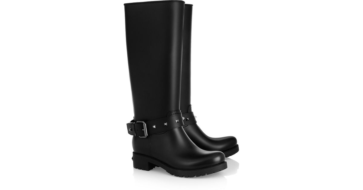 dcd430421 Karl Lagerfeld Black Studded Rubber Wellington Boots