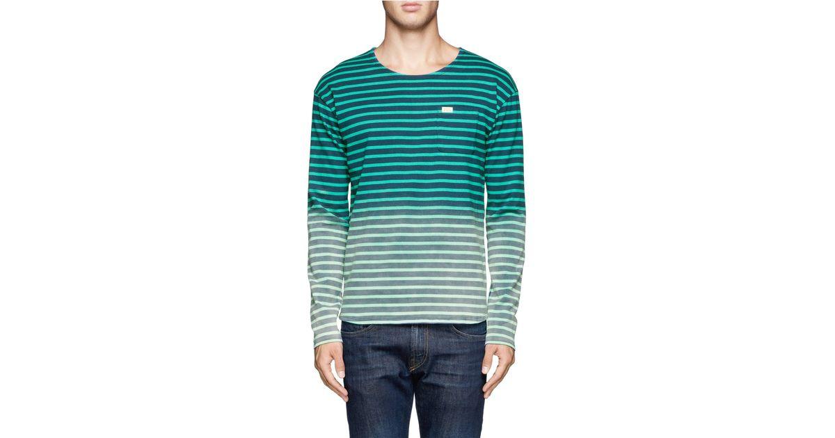 Scotch & Soda Fade-effect Striped Long-sleeve T-shirt In