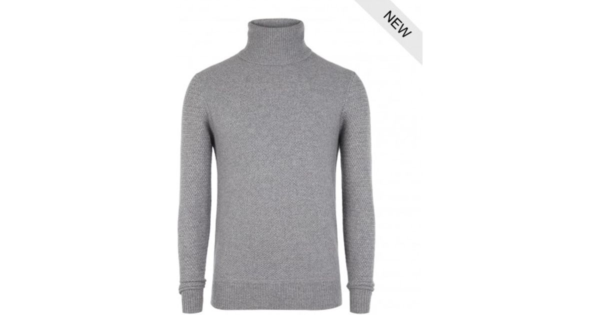 ab740fcdac7beb AllSaints Nord Cashmere Roll Neck Jumper in Gray for Men - Lyst